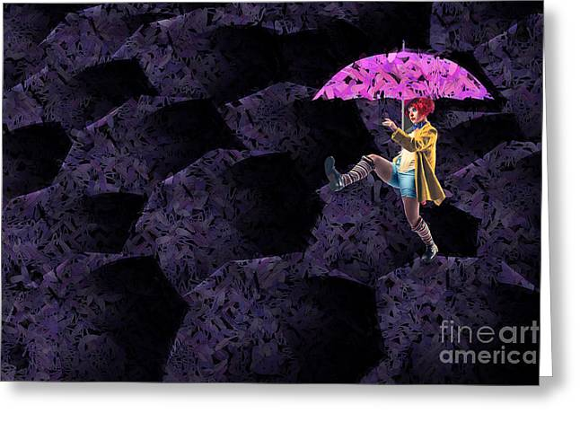 Umbrella Greeting Cards - Clowning on Umbrellas 02 - a08-Purple Greeting Card by Variance Collections