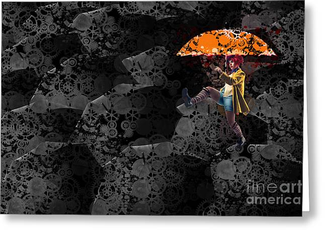 Mechanism Greeting Cards - Clowning on Umbrellas 02 -a10a Greeting Card by Variance Collections