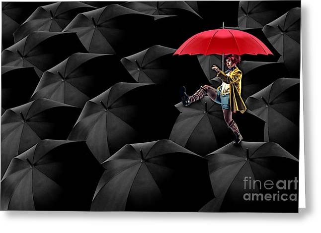 Umbrella Greeting Cards - Clowning on Umbrellas 02 -a13 Greeting Card by Variance Collections