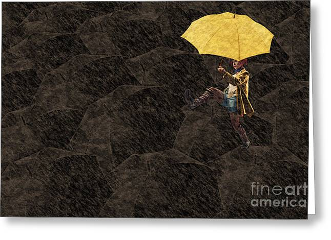 Umbrella Greeting Cards - Clowning on Umbrellas 03 - a12 Greeting Card by Variance Collections