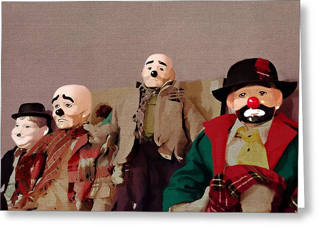 Kelly Mixed Media Greeting Cards - Clowns - Emmett Kelly and Oliver Hardy Greeting Card by Linda Muir