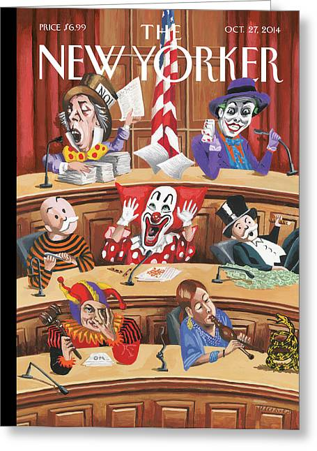 Clowns, Fools And Jokers Preside Over Congress Greeting Card by Mark Ulriksen