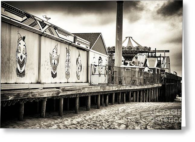 Seaside Heights Greeting Cards - Clowns on the Pier Greeting Card by John Rizzuto