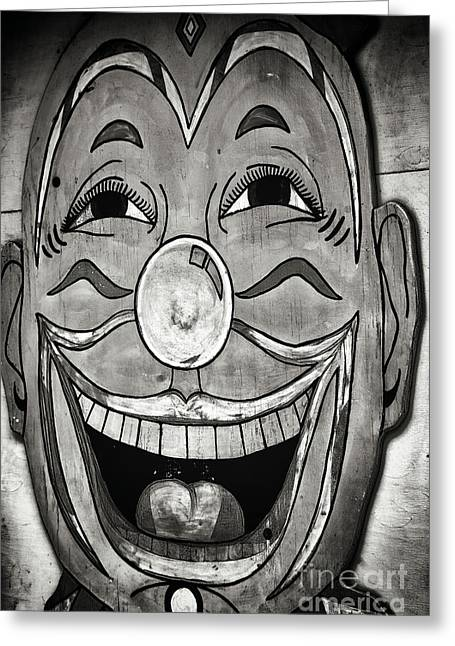Clown Black And White. Greeting Cards - Clowny infrared Greeting Card by John Rizzuto