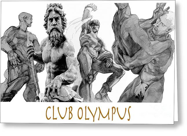 Book Cover Art Drawings Greeting Cards - Club Olympus Greeting Card by Greta Corens