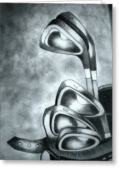 Golf Drawings Greeting Cards - Clubs Greeting Card by Jalal Gilani
