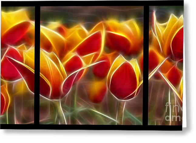 Subtle Colors Greeting Cards - Cluisiana Tulips Triptych  Greeting Card by Peter Piatt