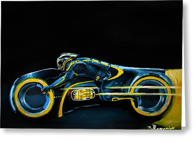 Best Sellers -  - Tron Greeting Cards - CLUs Lightcycle Greeting Card by Kayleigh Semeniuk