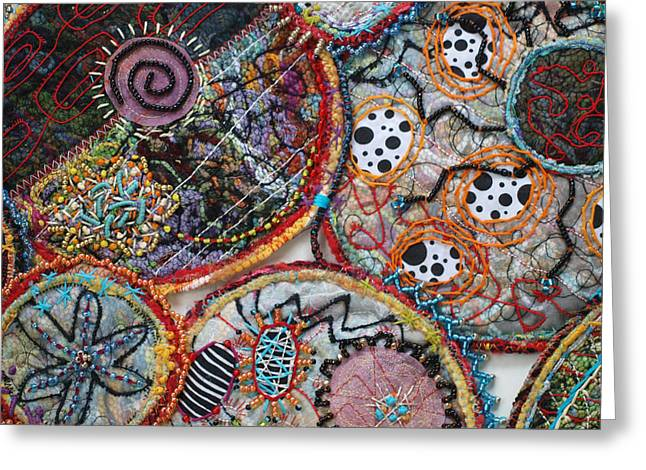 Organic Tapestries - Textiles Greeting Cards - Cluster detail Greeting Card by Christine Sauer