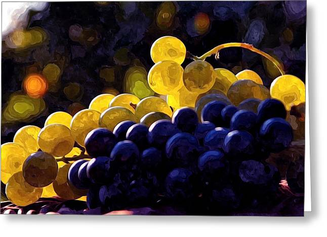 Viticulture Paintings Greeting Cards - Clusters of black and green grapes  Greeting Card by Lanjee Chee