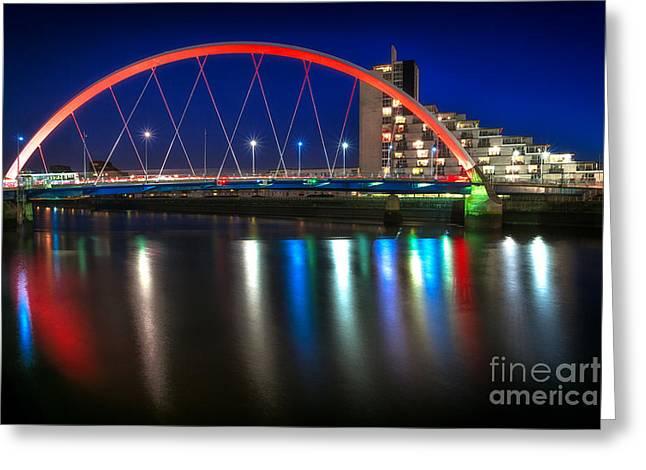 Glasgow Greeting Cards - Clyde Arc Glasgow at night Greeting Card by John Farnan