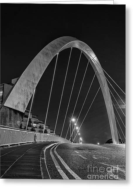 Glasgow Greeting Cards - Clyde Arc Glasgow Squinty Bridge Greeting Card by John Farnan
