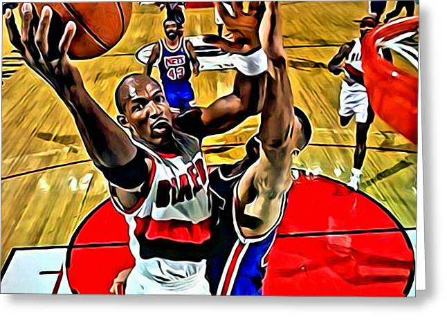 Slamdunk Greeting Cards - Clyde Drexler Greeting Card by Florian Rodarte