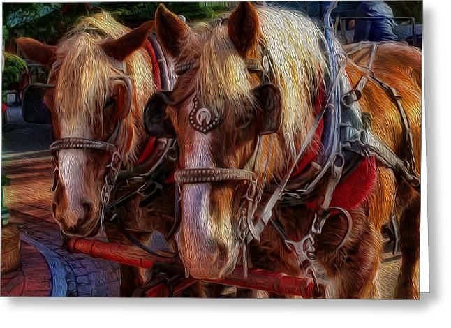 Equestrianism Greeting Cards - Clydesdale-Drawn Carriage  Greeting Card by Lee Dos Santos