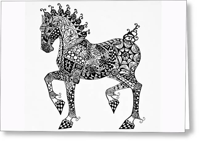 Clydesdale Foal - Zentangle Greeting Card by Jani Freimann