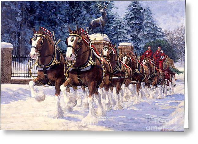 Clydesdale Greeting Cards - Clydesdale Hitch Grants Farm Winter Greeting Card by Don  Langeneckert
