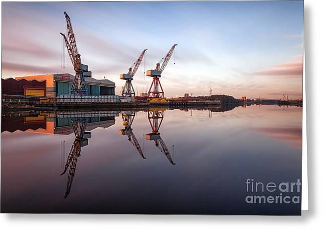 Scotland Landscape Prints Greeting Cards - Clydeside Cranes long exposure Greeting Card by John Farnan