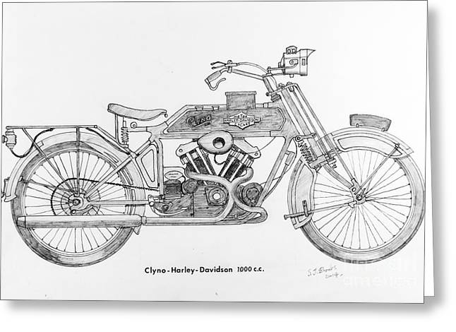 Restoration Drawings Greeting Cards - Clyno-Harley-Davidson Greeting Card by Stephen Brooks
