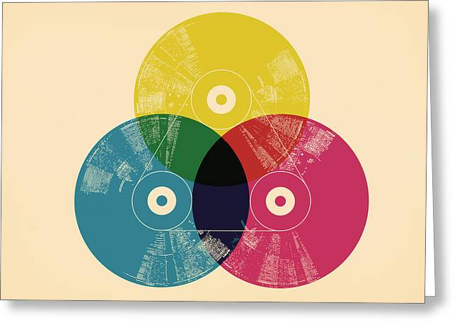 Colorful Greeting Cards - CMYK record Greeting Card by Budi Kwan