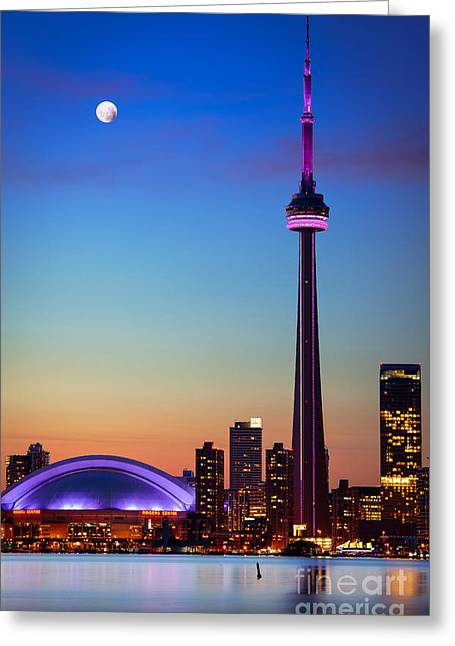 Ontario Photographs Greeting Cards - CN Tower at Dusk Greeting Card by Inge Johnsson