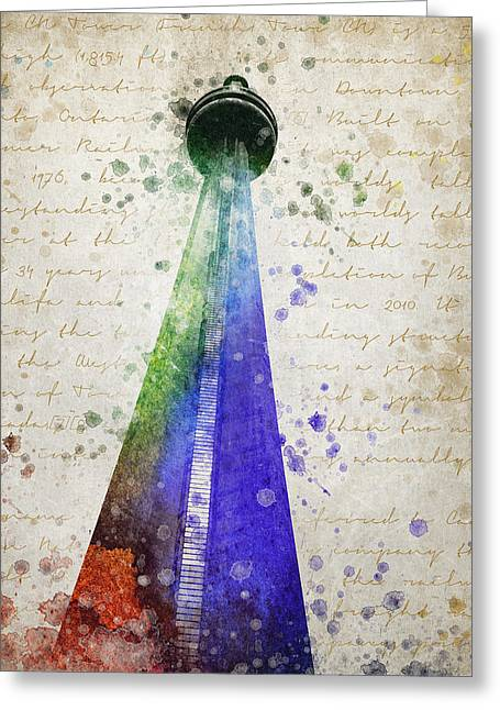 Communications Tower Greeting Cards - CN Tower Toronto Greeting Card by Aged Pixel