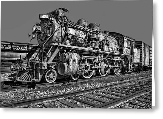 Railway Locomotive Greeting Cards - CNR Number 47 BW Greeting Card by Susan Candelario