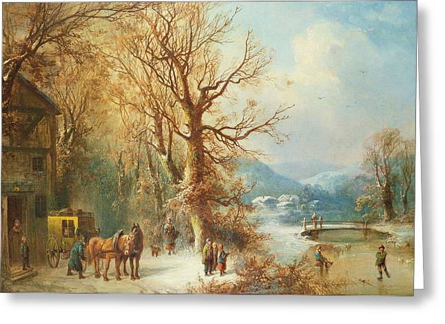 Coach Paintings Greeting Cards - Coach and Horses in a Snowy Landscape Greeting Card by Guido Hampe