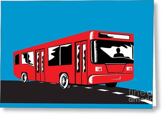 Coach Bus Shuttle Retro Greeting Card by Aloysius Patrimonio