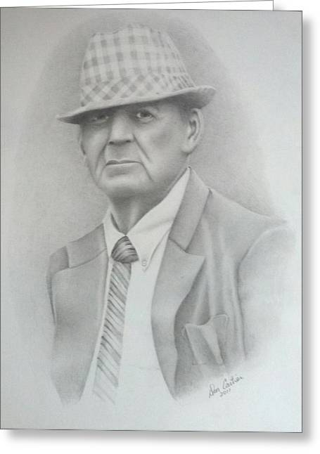 Bear Bryant Drawings Greeting Cards - Coach Greeting Card by Don Cartier