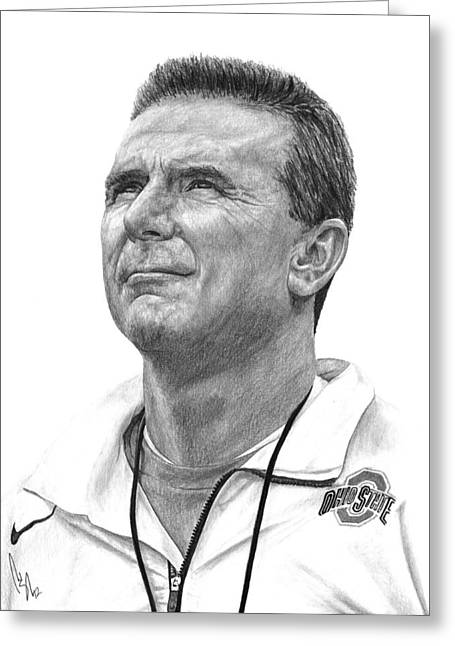 College Drawings Greeting Cards - Coach Meyer Greeting Card by Bobby Shaw