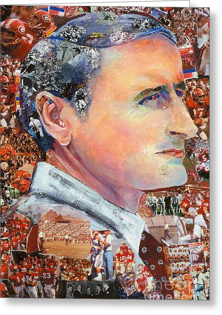 Vince Mixed Media Greeting Cards - Coach Vince Dooley Greeting Card by Alaina Enslen