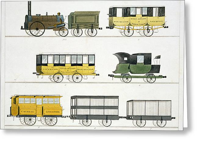 Engines Drawings Greeting Cards - Coaches Employed On The Railway, Plate Greeting Card by Thomas Talbot Bury