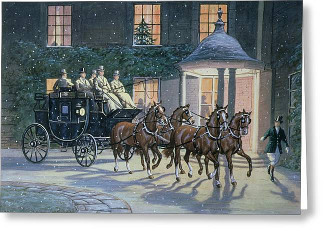 Carriage Greeting Cards - Coaching at Hurlingham Greeting Card by Ninetta Butterworth