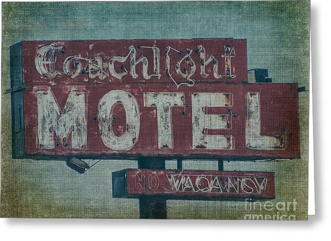 Motel Art Greeting Cards - Coachlight Motel Greeting Card by Emily Kay