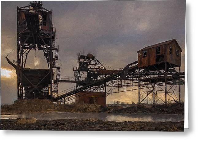 Power Plants Greeting Cards - Coal Conveyor and loader - Artisitic Greeting Card by Chris Bordeleau