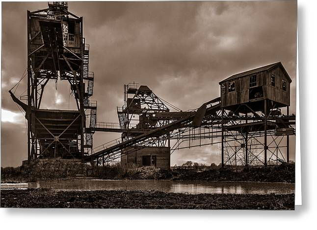 Power Plants Greeting Cards - Coal Conveyor and loader - BW Greeting Card by Chris Bordeleau