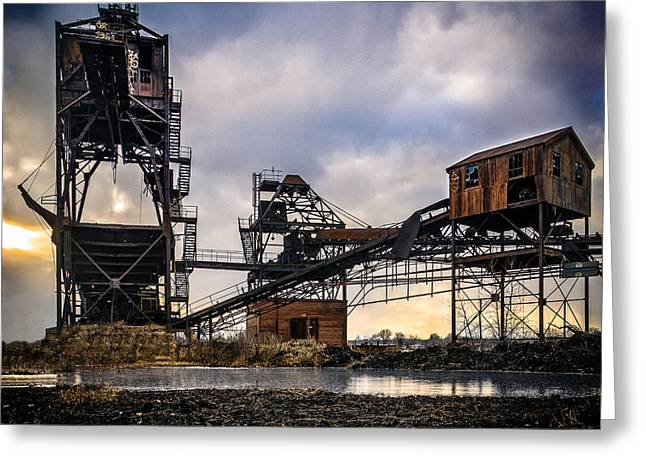 Coalmine Greeting Cards - Coal Conveyor and loader Greeting Card by Chris Bordeleau