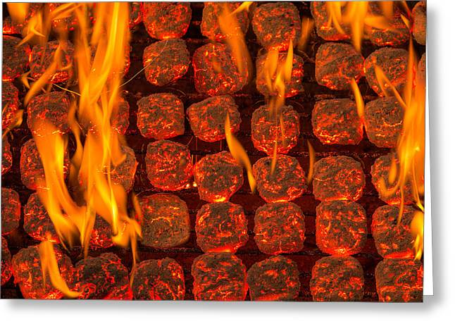 Grill Greeting Cards - Coal Fire Greeting Card by Steve Gadomski