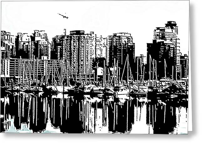 North Vancouver Digital Greeting Cards - Vancouver Canada Coal Harbour Centre Panel Greeting Card by Patricia Keith