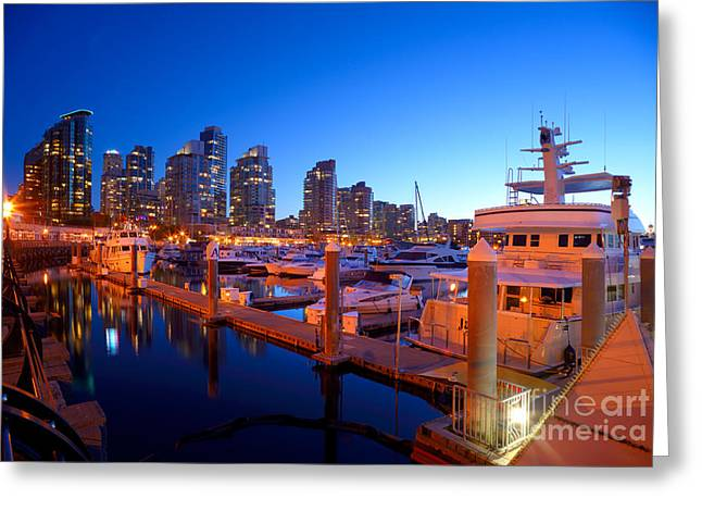 Vancouver At Night Greeting Cards - Coal Harbour Marina At Dusk Greeting Card by Terry Elniski