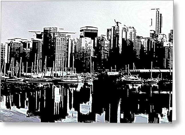 North Vancouver Digital Greeting Cards - Vancouver  Canada Coal Harbour Triptych Left Panel Greeting Card by Patricia Keith