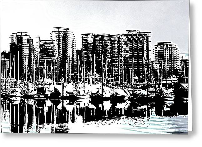North Vancouver Digital Greeting Cards - Vancouver Canada Coal Harbour Right Panel Greeting Card by Patricia Keith
