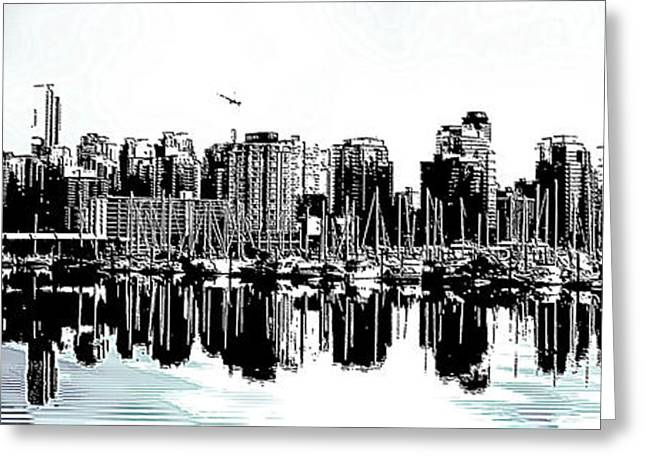 Sea Lions Greeting Cards - Coal Harbour Vancouver Panorama Greeting Card by Patricia Keith