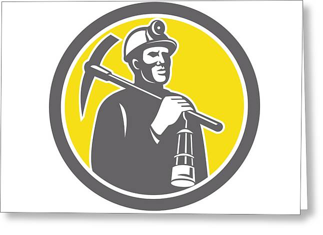 Pick Ax Greeting Cards - Coal Miner Hardhat With Pick Axe Lamp Front Circle Greeting Card by Aloysius Patrimonio