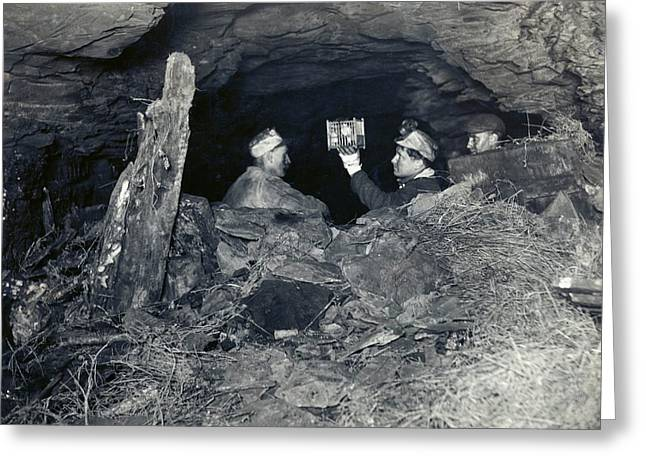 Coal Miners With A Canary Greeting Card by Miriam And Ira D. Wallach Division Of Art, Prints And Photographs/new York Public Library