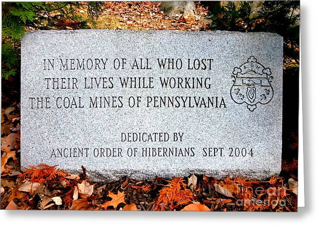 Old Mine Greeting Cards - Coal Mines Memorial Stone Greeting Card by Janine Riley