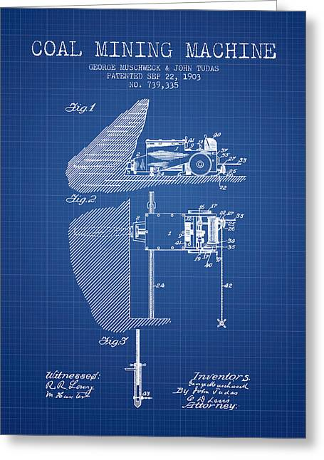 Mining Greeting Cards - Coal Mining Machine Patent From 1903- Blueprint Greeting Card by Aged Pixel