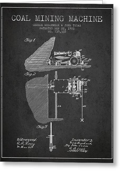 Mining Greeting Cards - Coal Mining Machine Patent From 1903- Charcoal Greeting Card by Aged Pixel