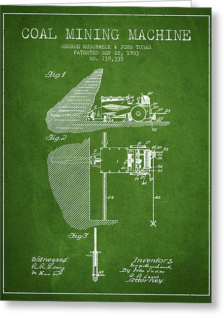 Mining Greeting Cards - Coal Mining Machine Patent From 1903- Green Greeting Card by Aged Pixel