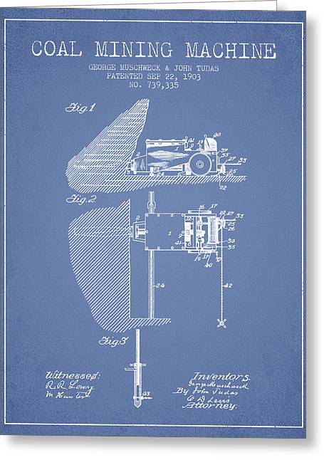 Mining Greeting Cards - Coal Mining Machine Patent From 1903- Light Blue Greeting Card by Aged Pixel